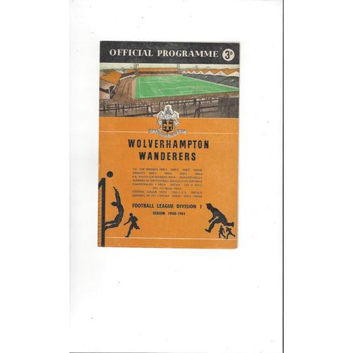 1960/61 Wolves v Preston Football Programme
