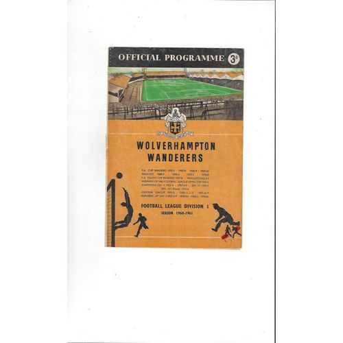 1960/61 Wolves v Stoke City Football Programme