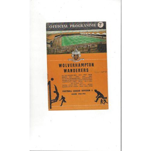 1960/61 Wolves v Tottenham Hotspur Football Programme
