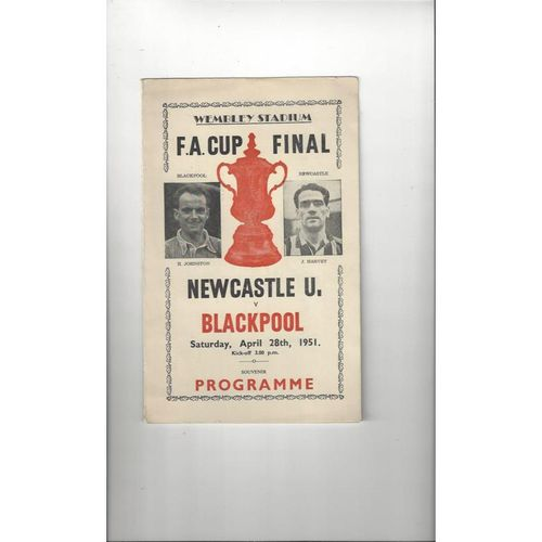 1951 Newcastle United v Blackpool FA Cup Final Football Programmes Pirate