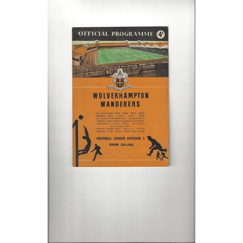 1961/62 Wolves v Bolton Wanderers Football Programme