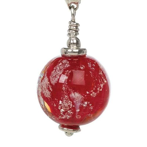 Red Cremation Glass Pendant
