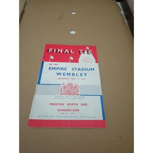 1937 Preston v Sunderland FA Cup Final Football Programme