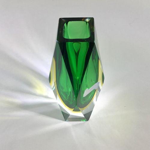 Murano Sommerso faceted vase by Luigi Mandruzzato