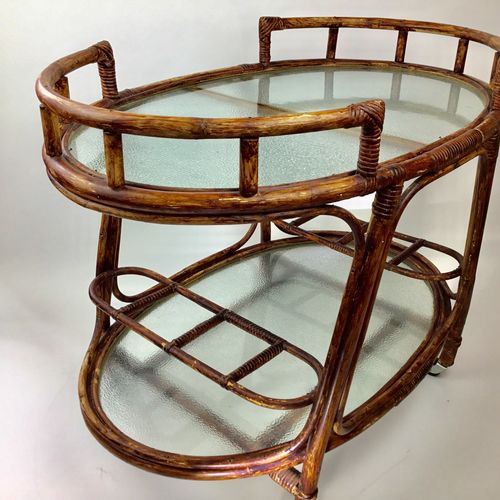 Oval rattan bamboo drinks trolley 1960s