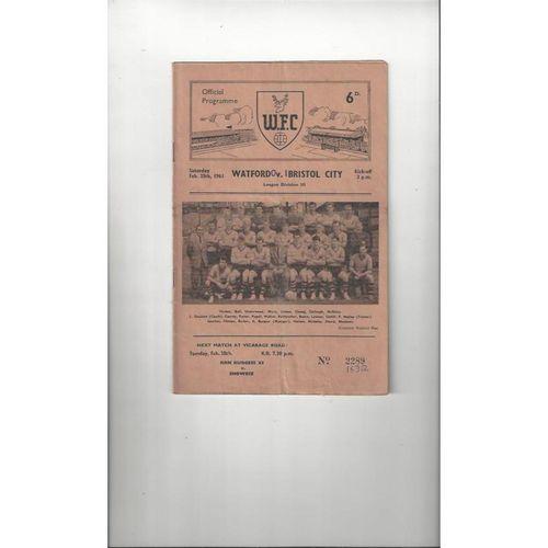 1960/61 Watford v Bristol City Football Programme