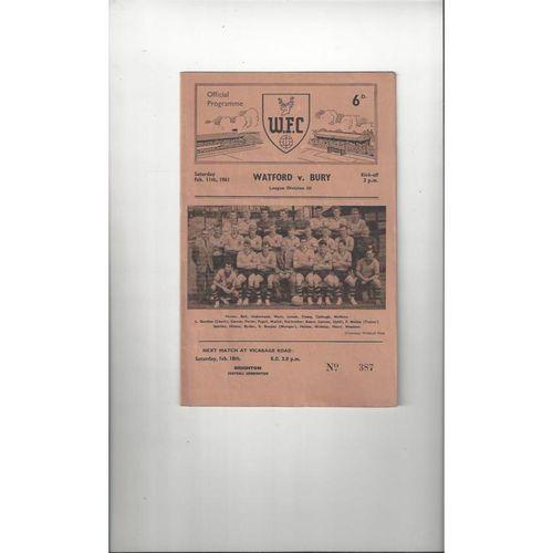 1960/61 Watford v Bury Football Programme