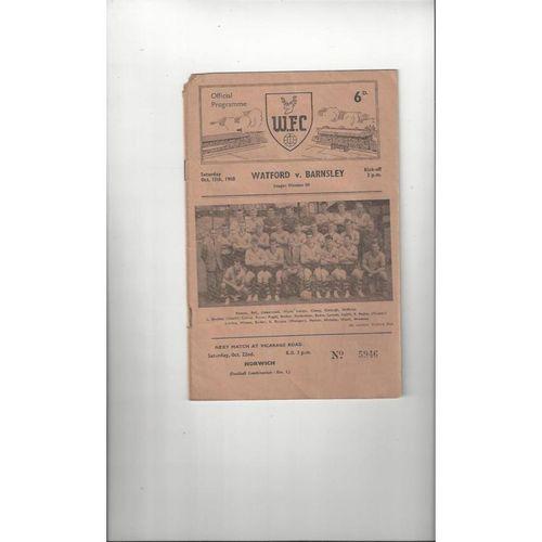 1960/61 Watford v Barnsley Football Programme