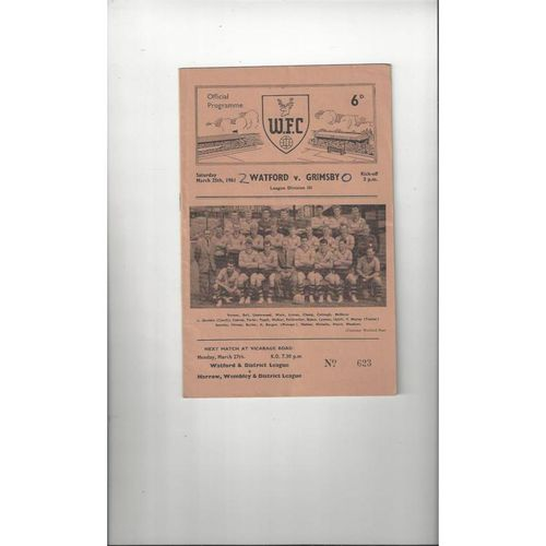 1960/61 Watford v Grimsby Town Football Programme