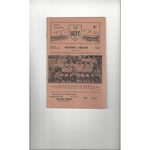 1960/61 Watford v Halifax Town Football Programme