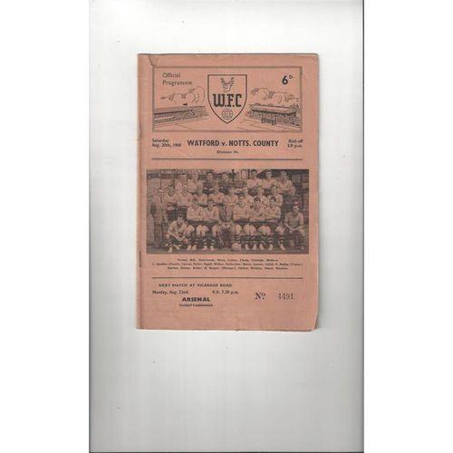 1960/61 Watford v Notts County Football Programme