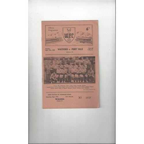 1960/61 Watford v Port Vale Football Programme