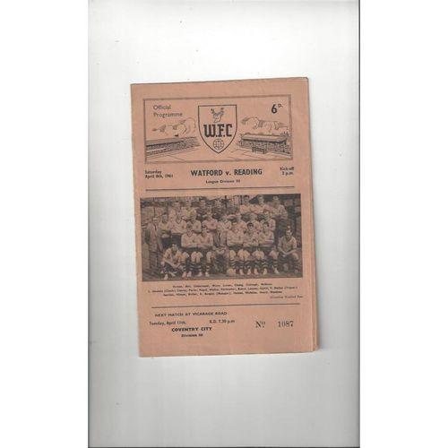 1960/61 Watford v Reading Football Programme