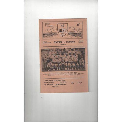 1960/61 Watford v Swindon Town Football Programme