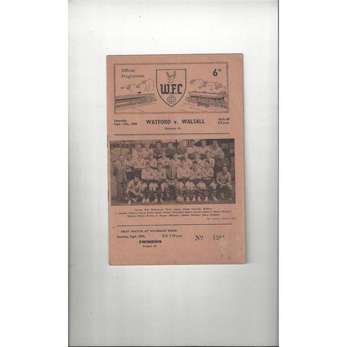 1960/61 Watford v Walsall Football Programme