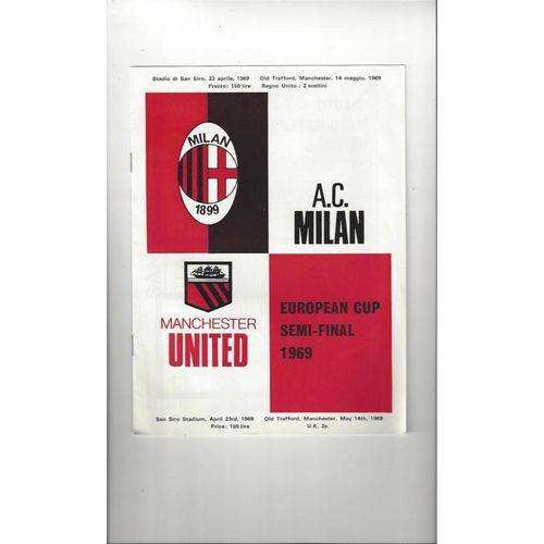 1968/69 AC Milan v Manchester United European Cup Semi Final Football Programme