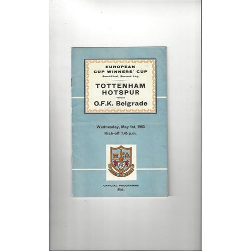 1962/63 Tottenham Hotspur v OKF Belgrade European Cup Winners Cup Semi Final Football Programme