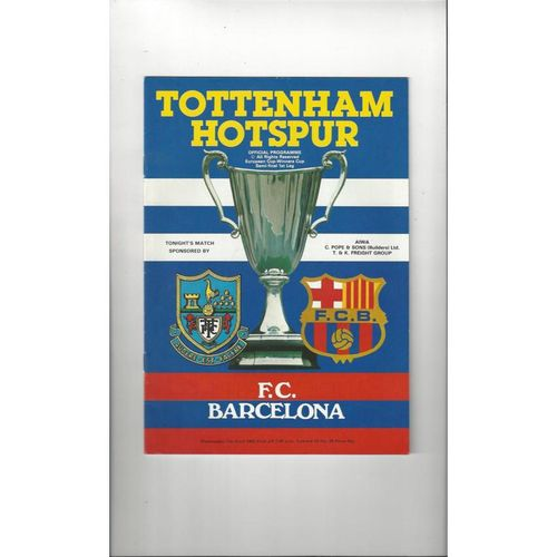 1981/82 Tottenham Hotspur v Barcelona Cup Winners Cup Semi Final Football Programme