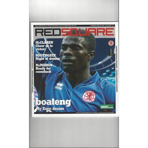 2005/06 Middlesbrough v Steaua Bucharest UEFA Cup Semi Final Football Programme