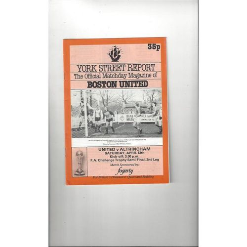 1984/85 Boston United v Altrincham FA Trophy Semi Final Football Programme