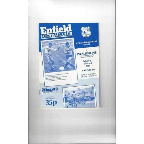 1984/85 Enfield v Wealdstone FA Trophy Semi Final Football Programme 1984/85