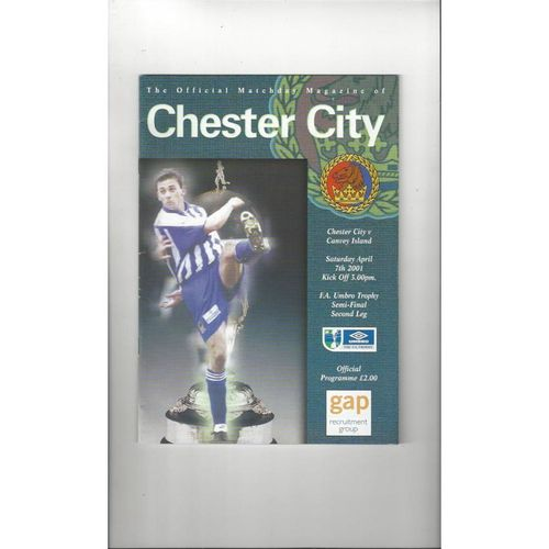 2000/01 Chester City v Canvey Island FA Trophy Semi Final Football Programme