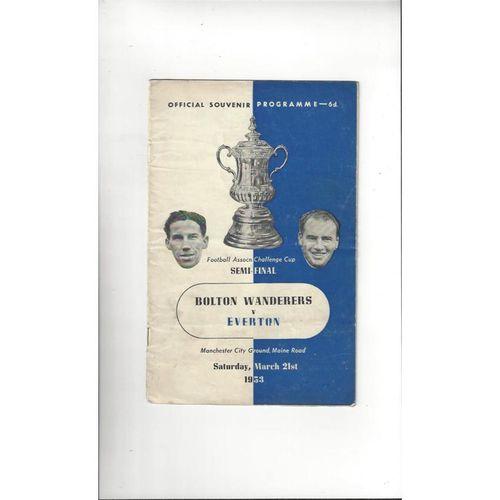 1953 Bolton Wanderers v Everton FA Cup Semi Final Programme @ Manchester City