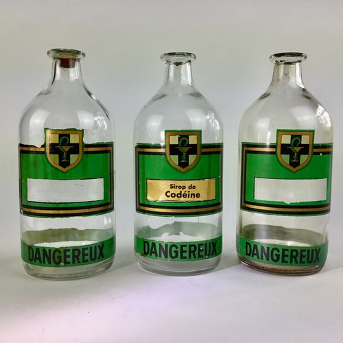 Trio of DANGEREUX Apothecary bottles