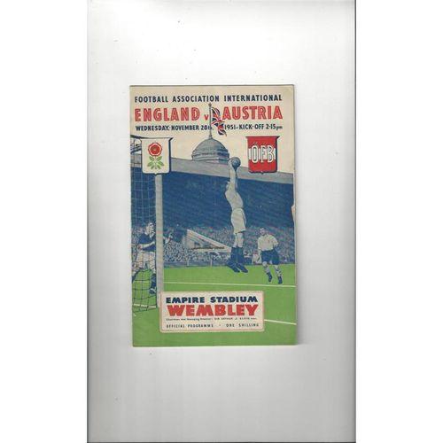 1951 England v Austria Football Programme