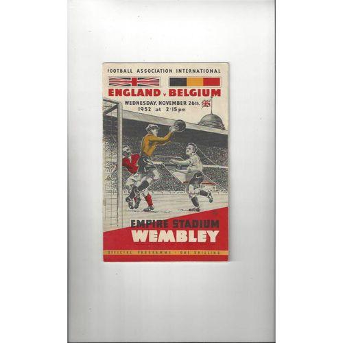 1952 England v Belgium Football Programme