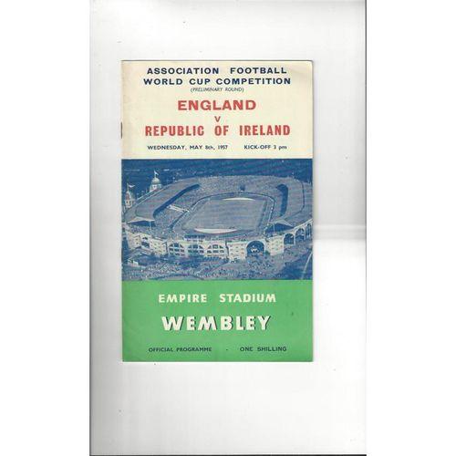 1957 England v Republic of Ireland Football Programme
