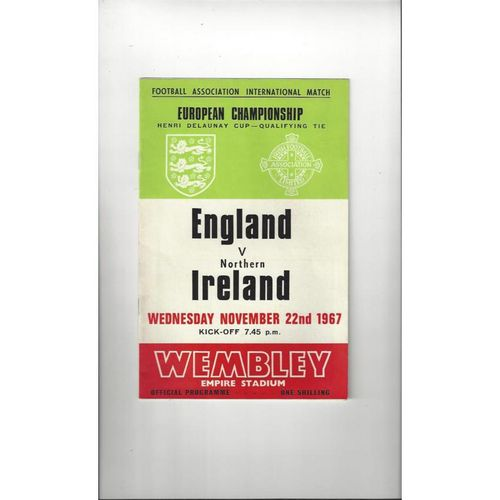 1967 England v Northern Ireland Football Programme