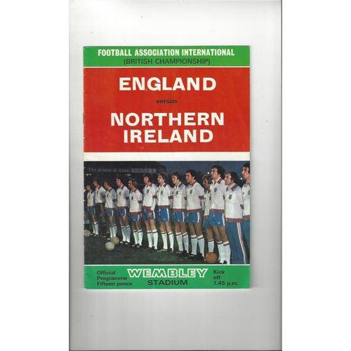 1976 England v Northern Ireland Football Programme