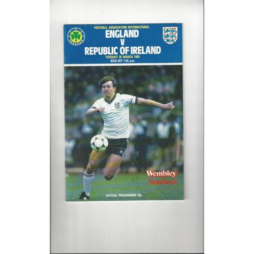 1985 England v Republic of Ireland Football Programme