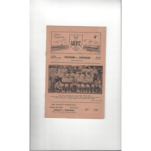 1960/61 Watford v Southend United Football Programme