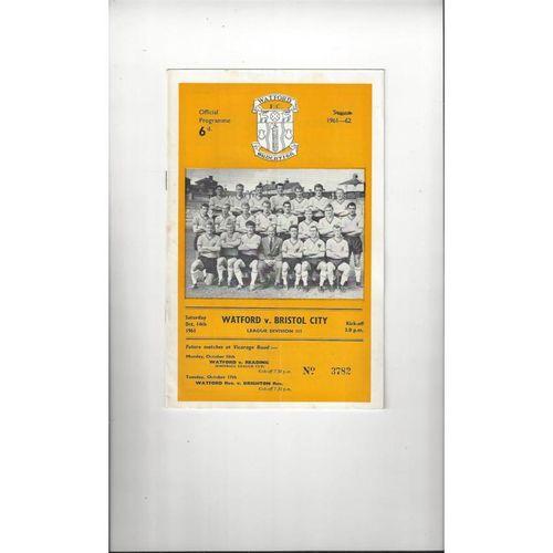 1961/62 Watford v Bristol City Football Programme