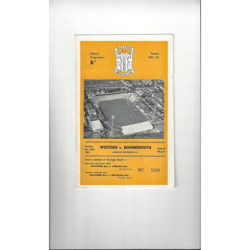 1961/62 Watford v Bournemouth Football Programme