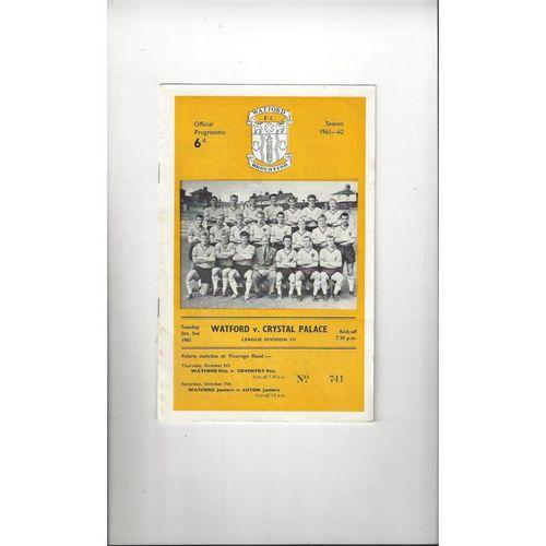 1961/62 Watford v Crystal Palace Football Programme