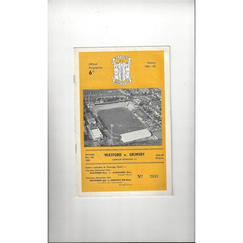 1961/62 Watford v Grimsby Town Football Programme