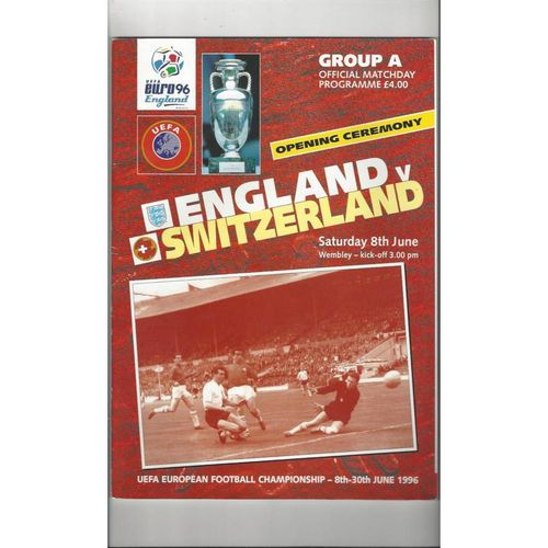 Euro 96 England v Switzerland Football Programme