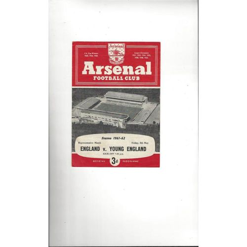1961/62 England v Young England Football Programme @ Arsenal