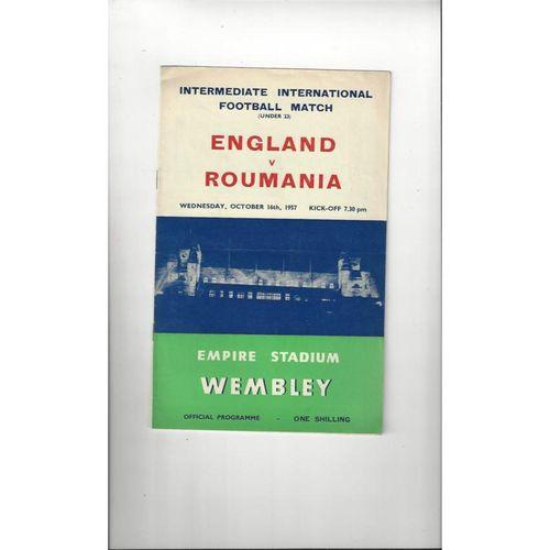 1957 England v Roumania U23 Football Programme