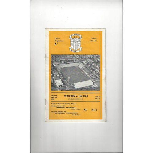 1961/62 Watford v Halifax Town Football Programme
