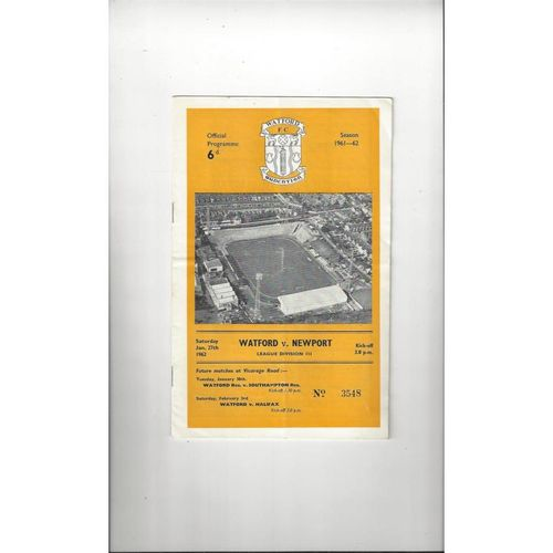 1961/62 Watford v Newport Football Programme