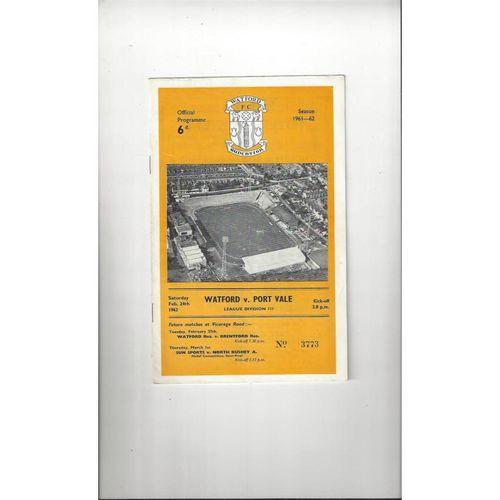 1961/62 Watford v Port Vale Football Programme