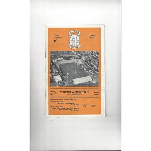 1961/62 Watford v Portsmouth Football Programme