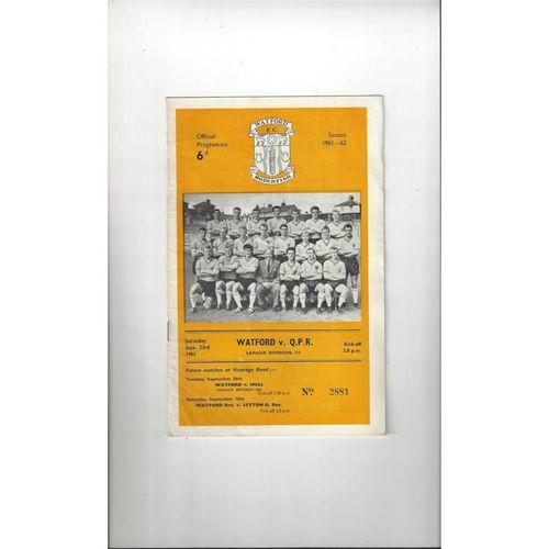 1961/62 Watford v Queens Park Rangers Football Programme