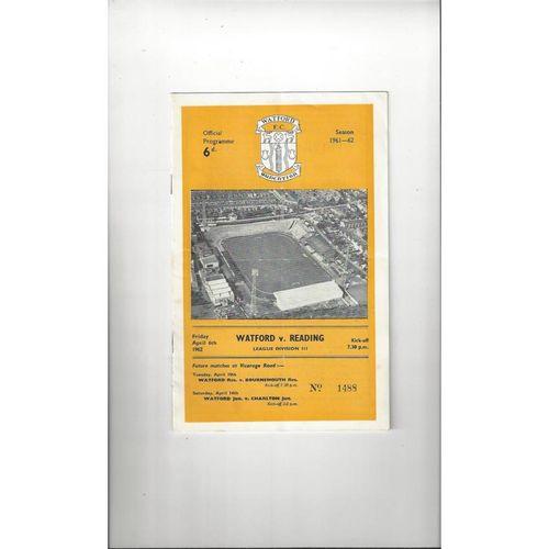 1961/62 Watford v Reading Football Programme