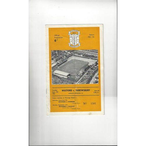 1961/62 Watford v Shrewsbury Town Football Programme