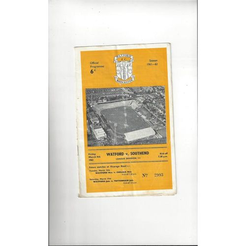 1961/62 Watford v Southend United Football Programme